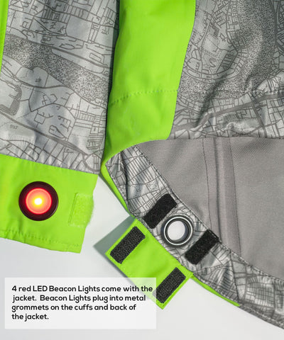 Women's Hi-Vis Torch Jacket with Red LED Beacon Lights