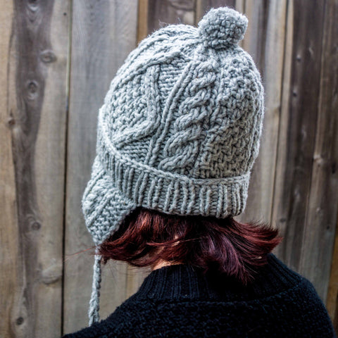 Cable Knit Natural Undyed Wool Beanie With Earflaps