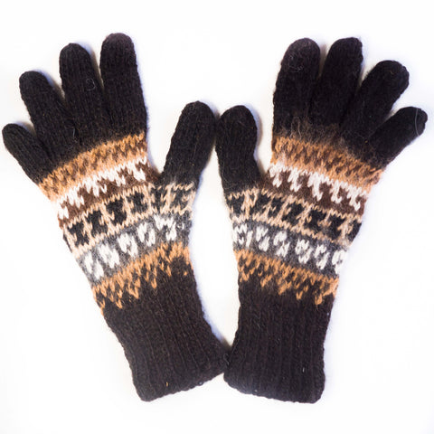 Patterned Hand-Knit Peruvian Alpaca Wool Gloves
