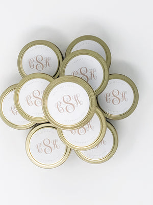 Set of 12 Monogram Custom Wedding Favor Candle Tins