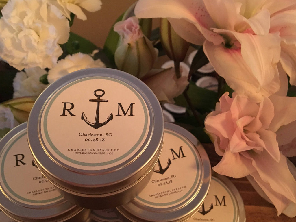 Set of 12 Anchor Custom Wedding Favor Candle Tins