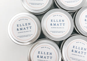 Set of 12 Classic Custom Wedding Favor Candle Tins