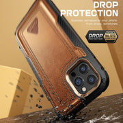 iPhone 12 Pro 6.1 inch Unicorn Beetle Royal Rugged Leather Case-Brown