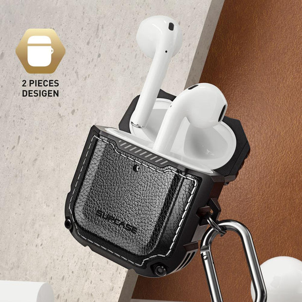 Apple AirPods 1 & 2 Unicorn Beetle Royal Rugged Leather Case-Black