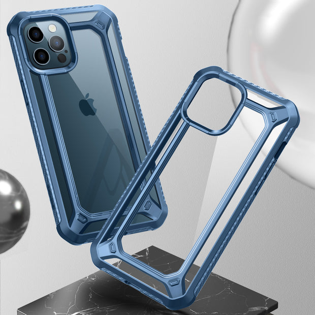 iPhone 12 Pro 6.1 inch Unicorn Beetle Exo with Screen Protector Clear Case-Blue