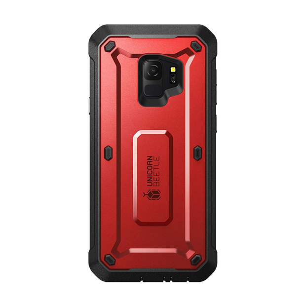 Galaxy S9 Unicorn Beetle Pro Full Body Rugged Holster Case-Metallic Red
