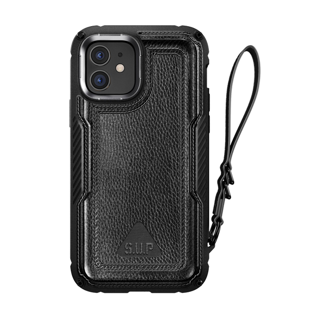 iPhone 12 6.1 inch Unicorn Beetle Royal Rugged Leather Case-Black