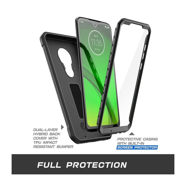 Moto G7 Unicorn Beetle Pro 360 Degree Coverage Case with Holster-Black