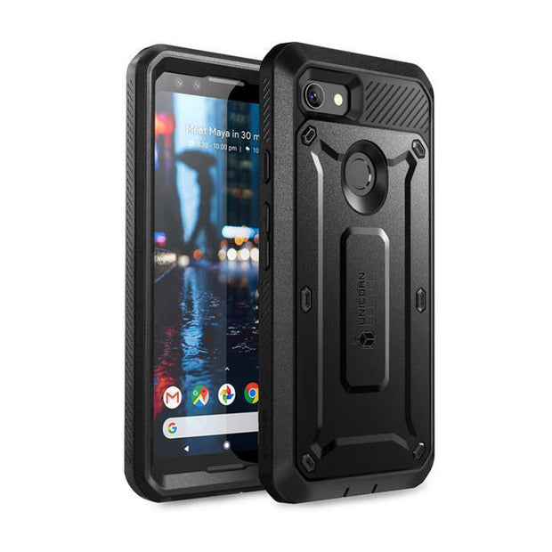 Google Pixel 3 Unicorn Beetle Pro Rugged Holster Case with Screen Protection-Black