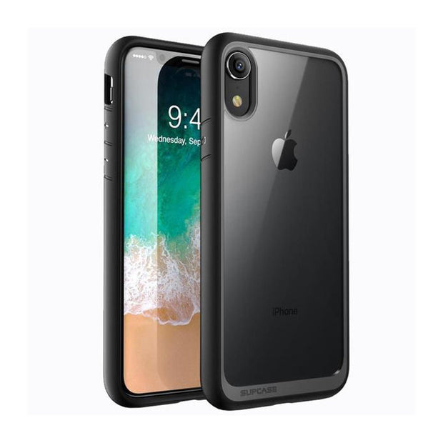 iPhone XR Unicorn Beetle Style Slim Clear Case-Black