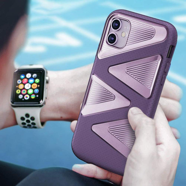 iPhone 11 6.1 inch Unicorn Beetle Maze Rugged Case-Purple
