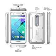 Motorola X Pure Unicorn Beetle Pro Full Body Rugged Holster Case with Screen Protector-White