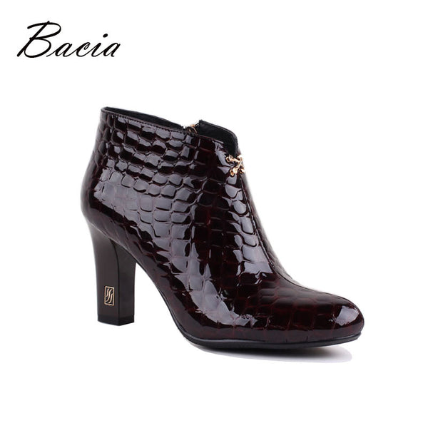 Bacia Celiene Stone Pattern Ankle Boots Genuine Leather