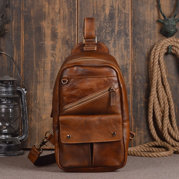 High Quality Vintage Style 100% Genuine Tanned Leather Men's Chest Bag Casual Messenger Bag Unisex Male Cross Shoulder Bag