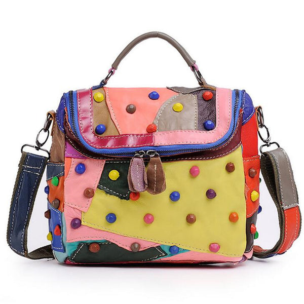 Miss Ying Luxury Handmade Genuine Leather Colorful Patchwork shoulder bag