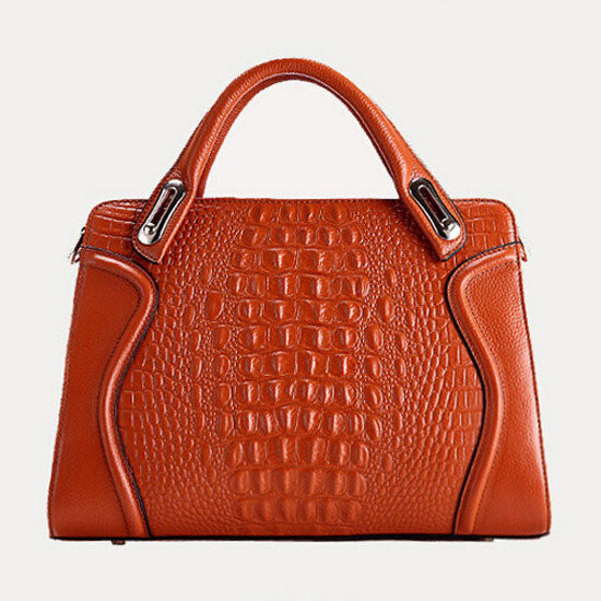 Red Berry 2015 Jada Crocodile pattern Leather Briefcase Tote