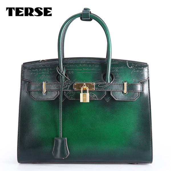 TERSE Luxury Genuine Leather Handmade Tote Bag 4 colors in stock