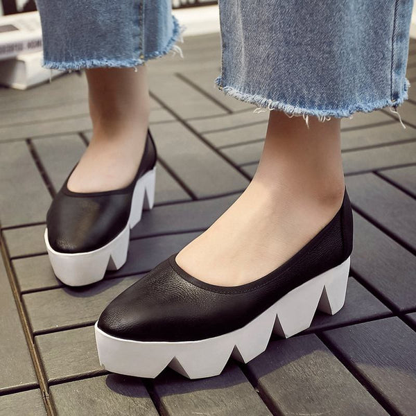 Krazing Pot Round Toe Platform Wedges Genuine Leather