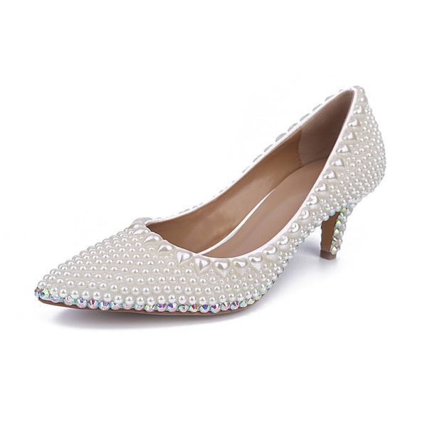 AKI Melinda Luxury Handmade Ball, Banquet, Bridal Pearl Genuine Leather Pumps
