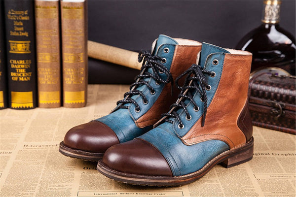 A.I. Genuine Leather Men's Casual High Top Ankle Boots