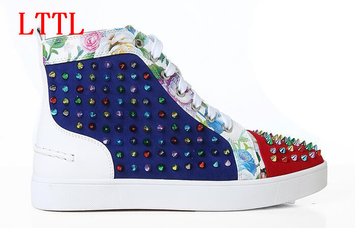 LTTL TommyMen's High Top Multicolor Spike Genuine Leather Sneakers w/Floral Pattern on Leather