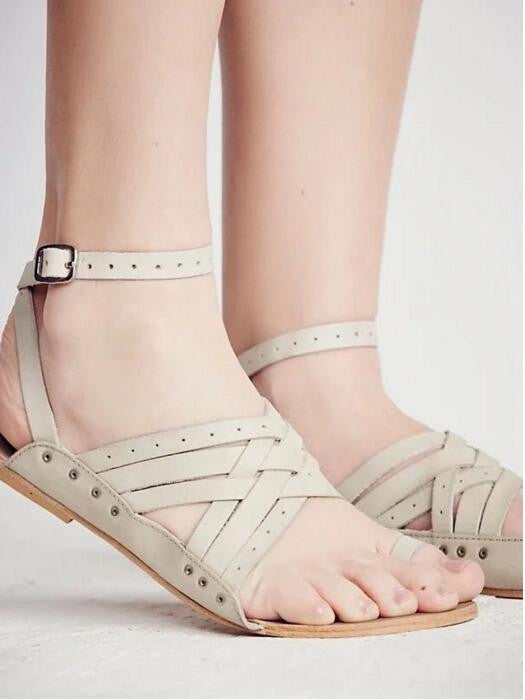 LTTL Wendy Comfortable Genuine Leather w/ Toe Ring Cross Strap Gradiator Style Sandals