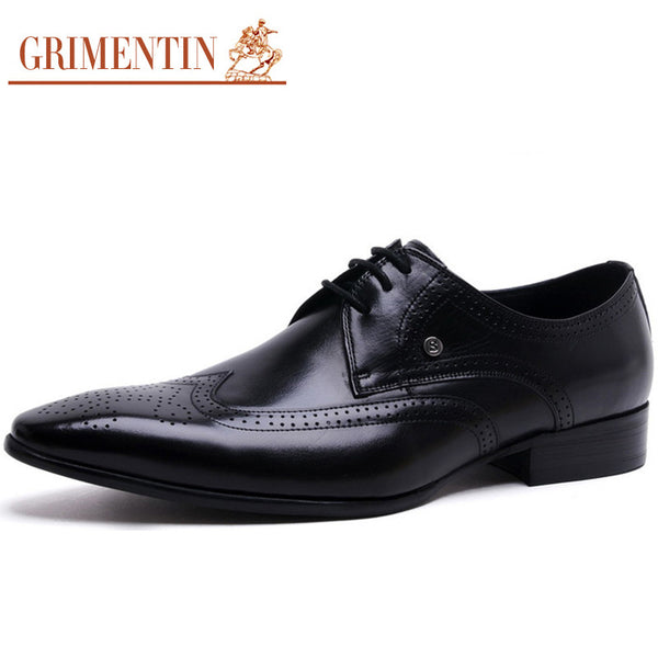 GRIMENTIN Mens Formal Luxury Pointed Toe Wingtip Carved