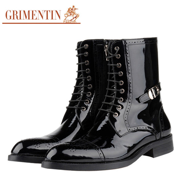 GRIMENTIN Mens Genuine Leather Winter Boots Patent Leather w/Vintage Style