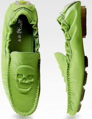 YP Nicholas Skull Genuine Leather Boat Shoes Loafer