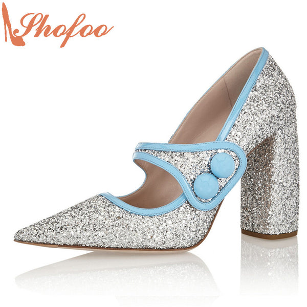 Shofoo Silver Glitter Point Toe Buckle Strap Pumps