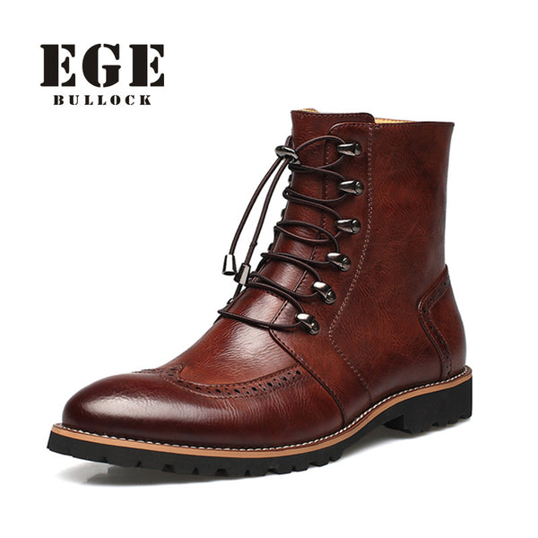 EGE Bullock Bryson Handmade Warm Interior Genuine leather Casual Winter Dress boots