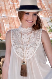 Mia Brown Tassel Necklace