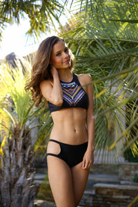 High Neck Geo Halter Bikini