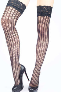 Wavy Stripes Fishnet Thigh-highs
