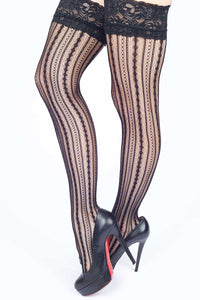 Stripes of Chains and Diamonds Fishnet Thigh-highs