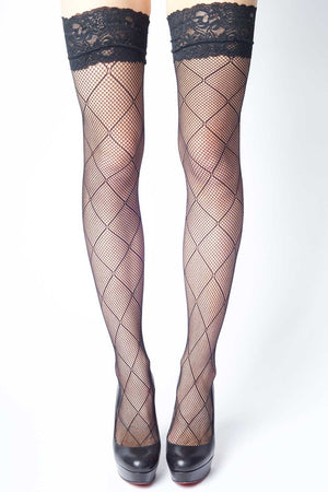 d68e8644d20 Criss Cross Diamonds Fishnet Thigh-highs