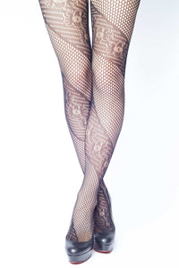 Spiral Flowers Fishnet Stockings