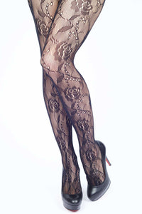 Dew Drops on Roses Fishnet Stockings