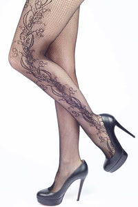 Side Whimsical Floral Inset Fishnet Stockings