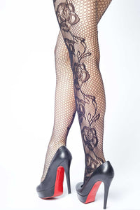 Etched Side Roses Fishnet Stockings