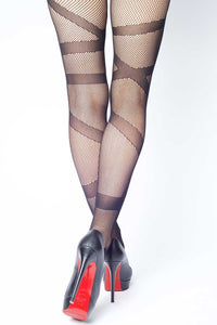 Wrapped Ribbon Fishnet Stockings