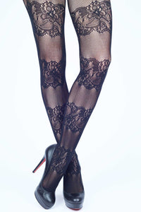 Horizontal Lace Bands Fishnet Stockings