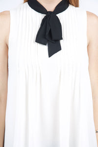 Melinda Black Bow Collar Top