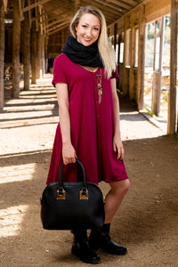 Crimson Tides Burgundy Dress