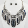 Silver Blue Feather Statement Necklace