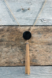 Reversible Blue Black Tassel Necklace