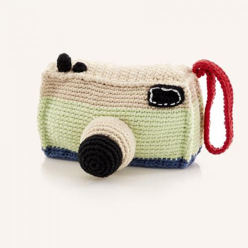 Camera Rattle Hand Knitted Sugar Cubed