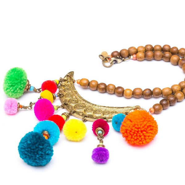 Zest Marketplace Melvin Short Crescent Pom Pom Necklace