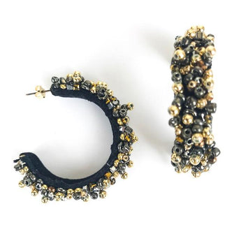 Zest Marketplace Allie Beads Collection Gunmetal & Gold Hoops