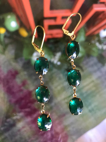 Zest Marketplace Green Crystal Trio Earrings